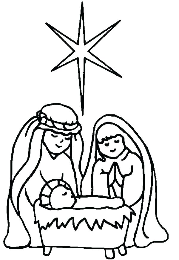 600x870 Lovely Jesus Coloring Pages For Kids Fee Baby Star Of In Born Page