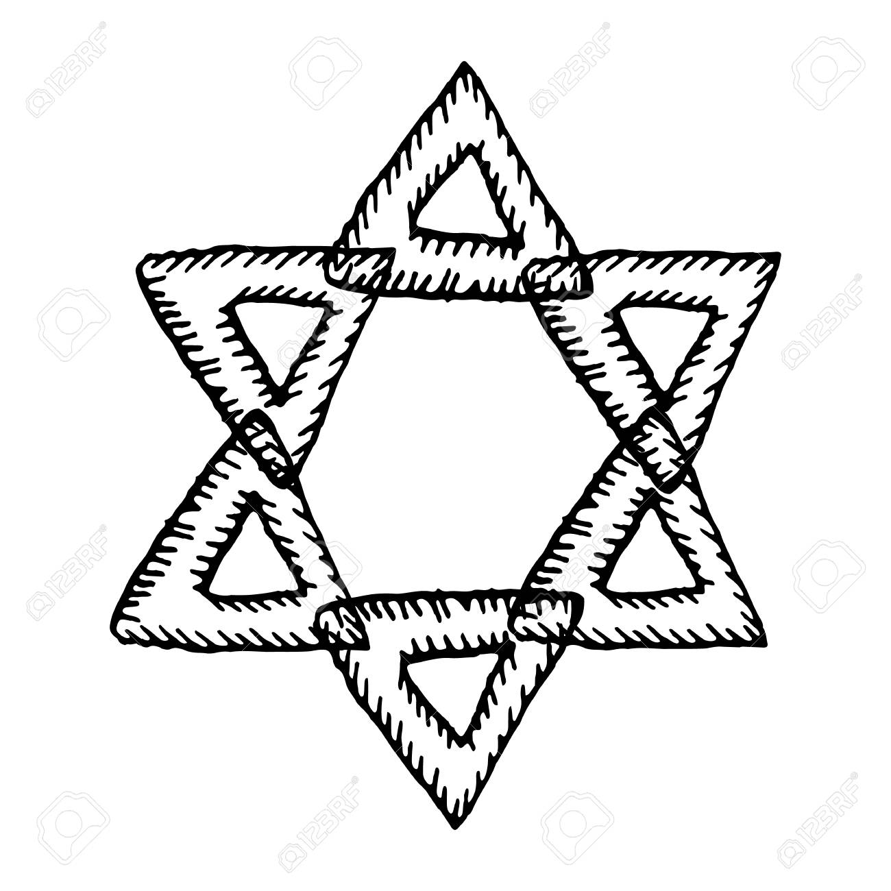 1300x1300 The Six Pointed Star Of David. The Jewish Sign. Hand Draw. Doodle
