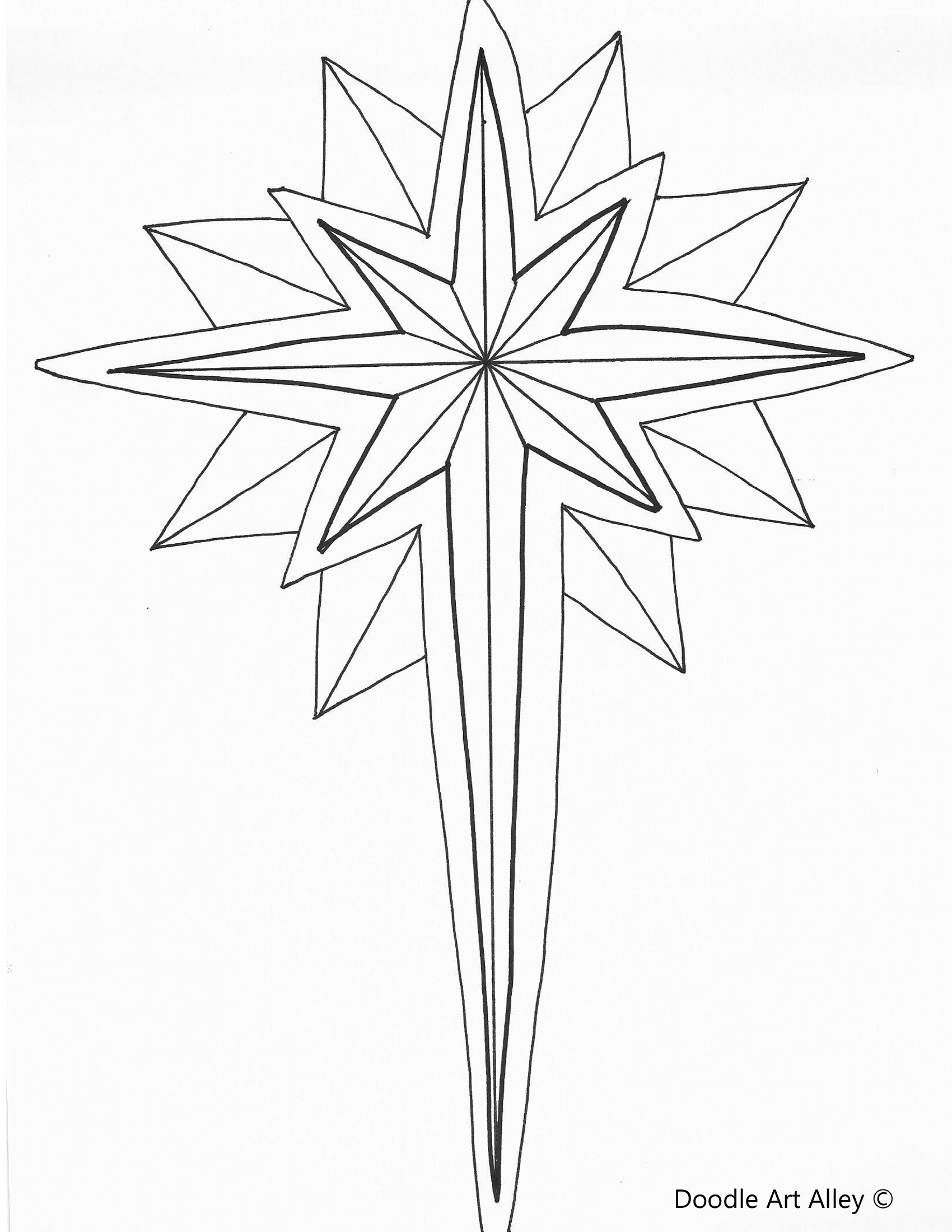 drawing of star of bethlehem printable printable free printable