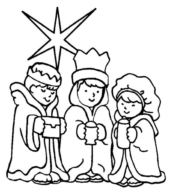 600x670 Three Kings And Star Of Bethlehem Coloring Pages Batch Coloring