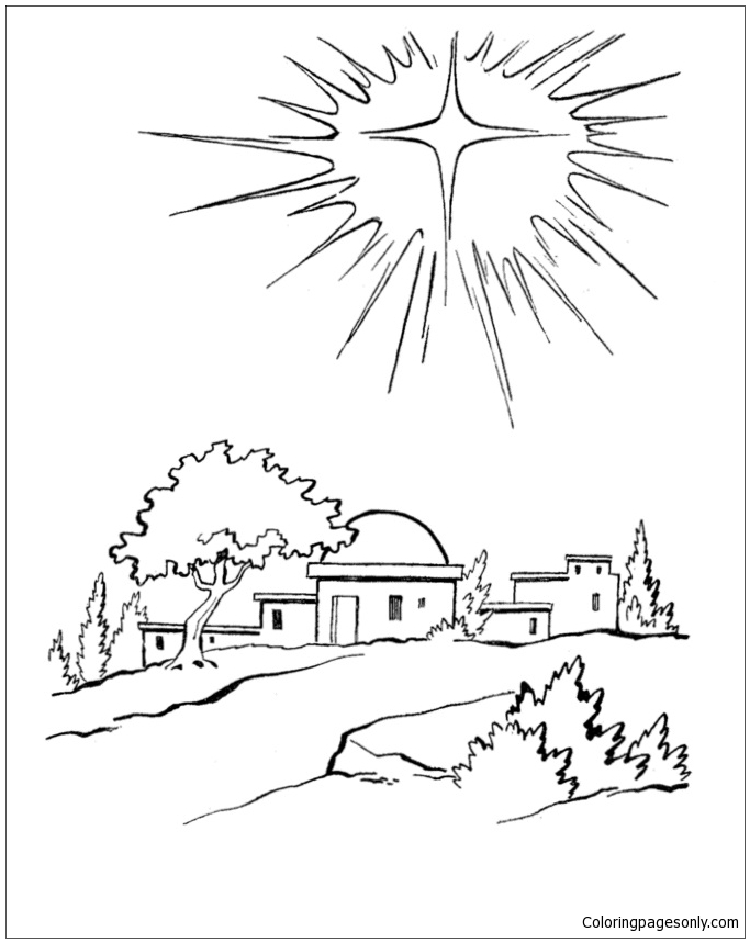 683x859 Christmas Star Over Bethlehem Coloring Page