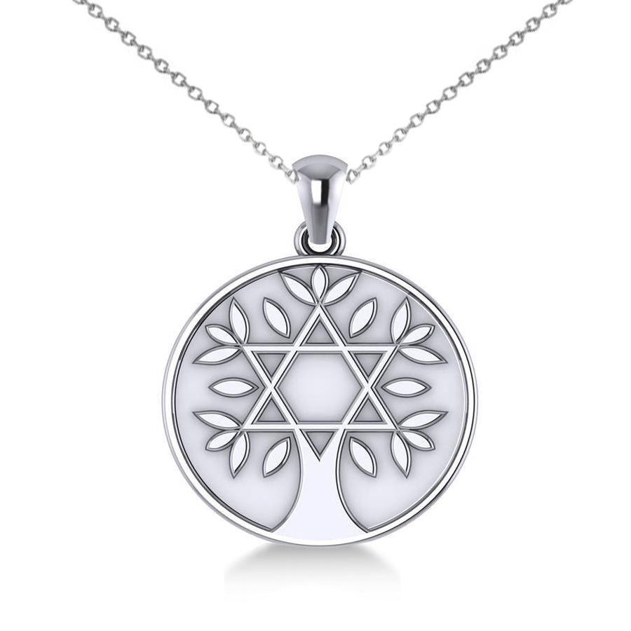 900x900 Jewish Family Tree Star David Pendant Necklace 14k White Gold