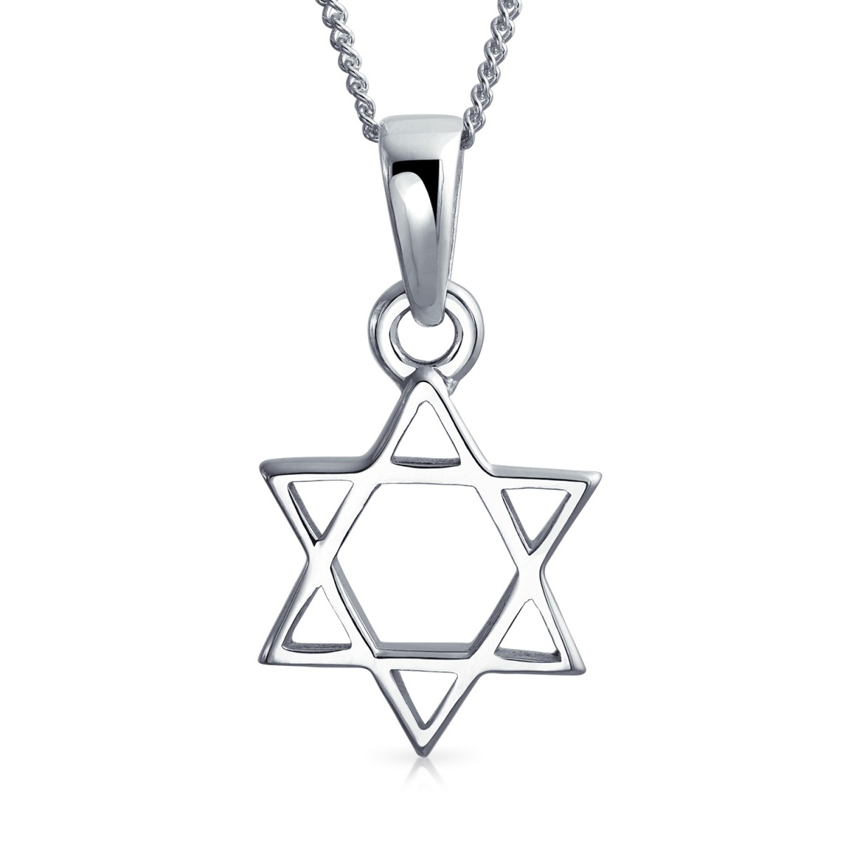1200x1200 Open Star Of David Jewish Pendant Necklace Sterling Silver 18in