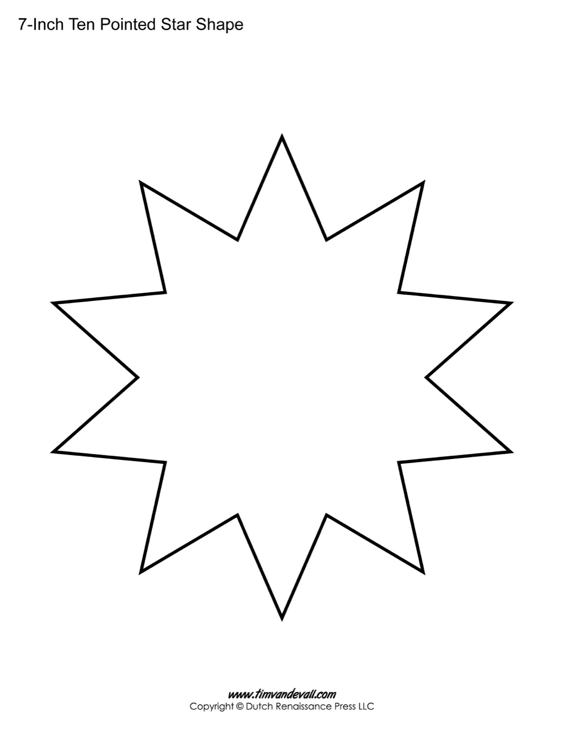1159x1500 Blank Ten Pointed Star Shapes Printable Star Template For Art Crafts