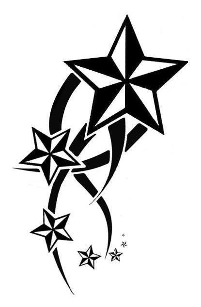 415x634 Collection Of Nautical Stars Cross Banner Tattoo Design