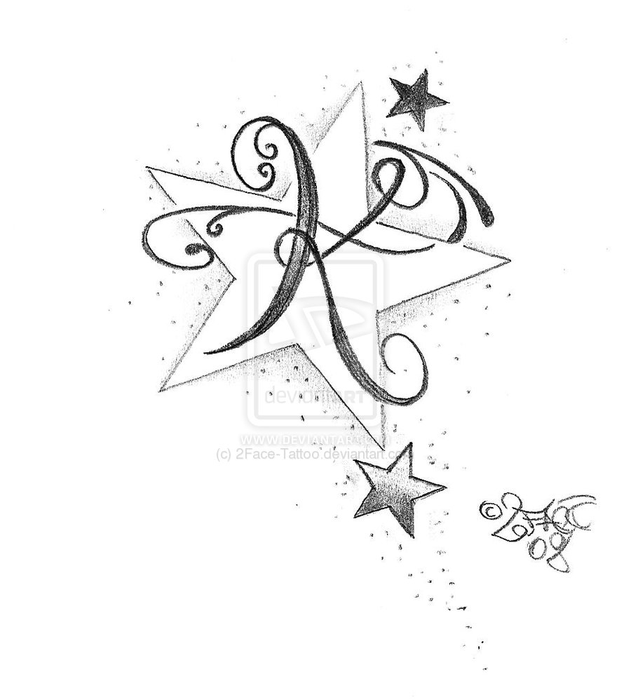 900x998 New Letter Stars Tattoo Design By 2face
