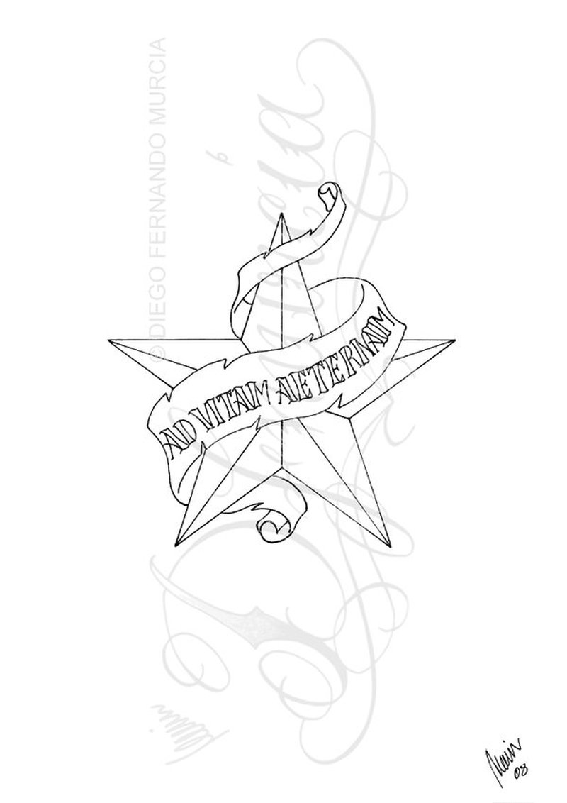 800x1132 Star Banner Tattoo Design