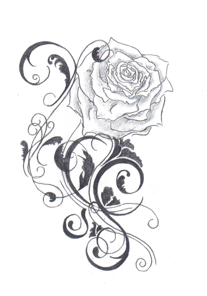 718x1023 Black And White Flower Tattoo Designs