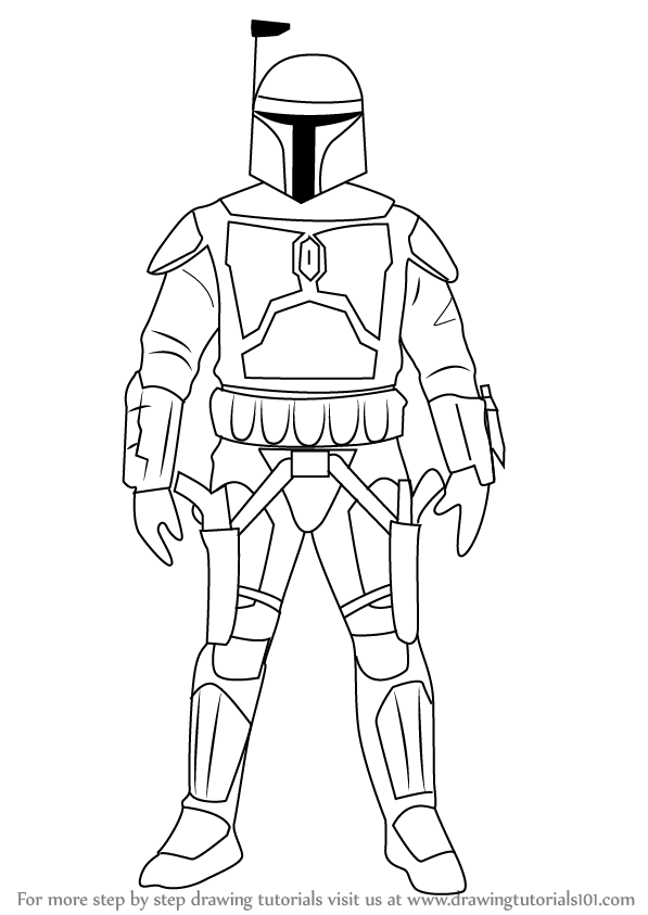 597x843 Learn How To Draw Jango Fett From Star Wars (Star Wars) Step By