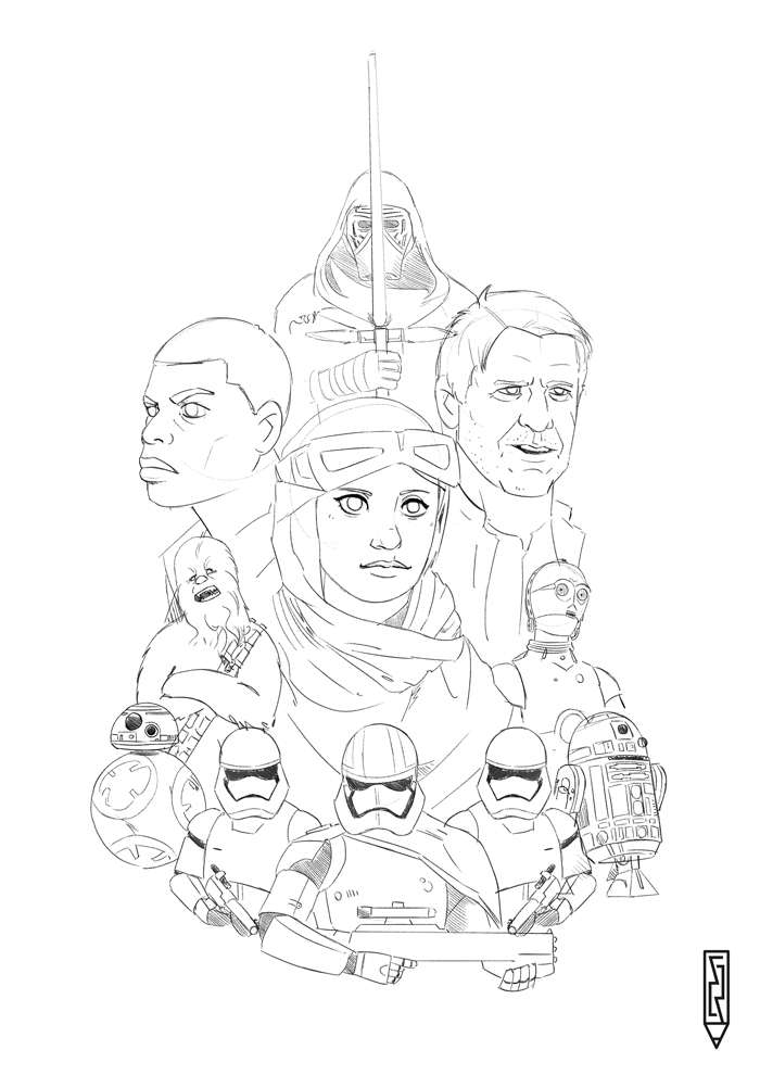 700x990 Star Wars Force Awakens Drawings Easy Force Awakens Art Star War