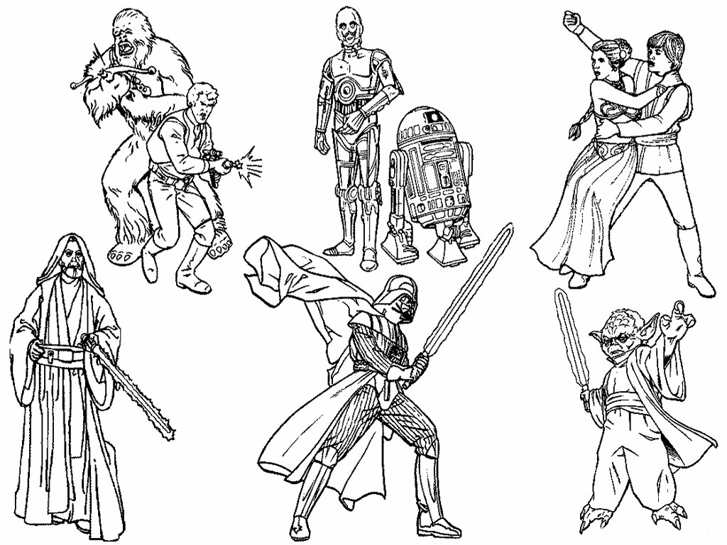 1024x768 6 Star Wars Characters Free Coloring Page Kids, Movies, Star