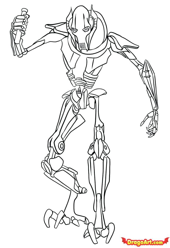 general grievous coloring pages - star wars characters drawing at free for