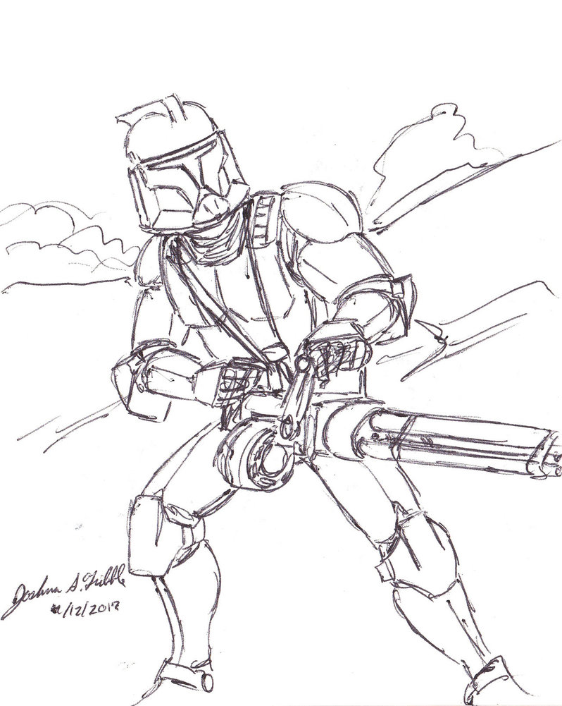 798x1001 Assault Clone Trooper With Tri Barrel Blaster By Tribble