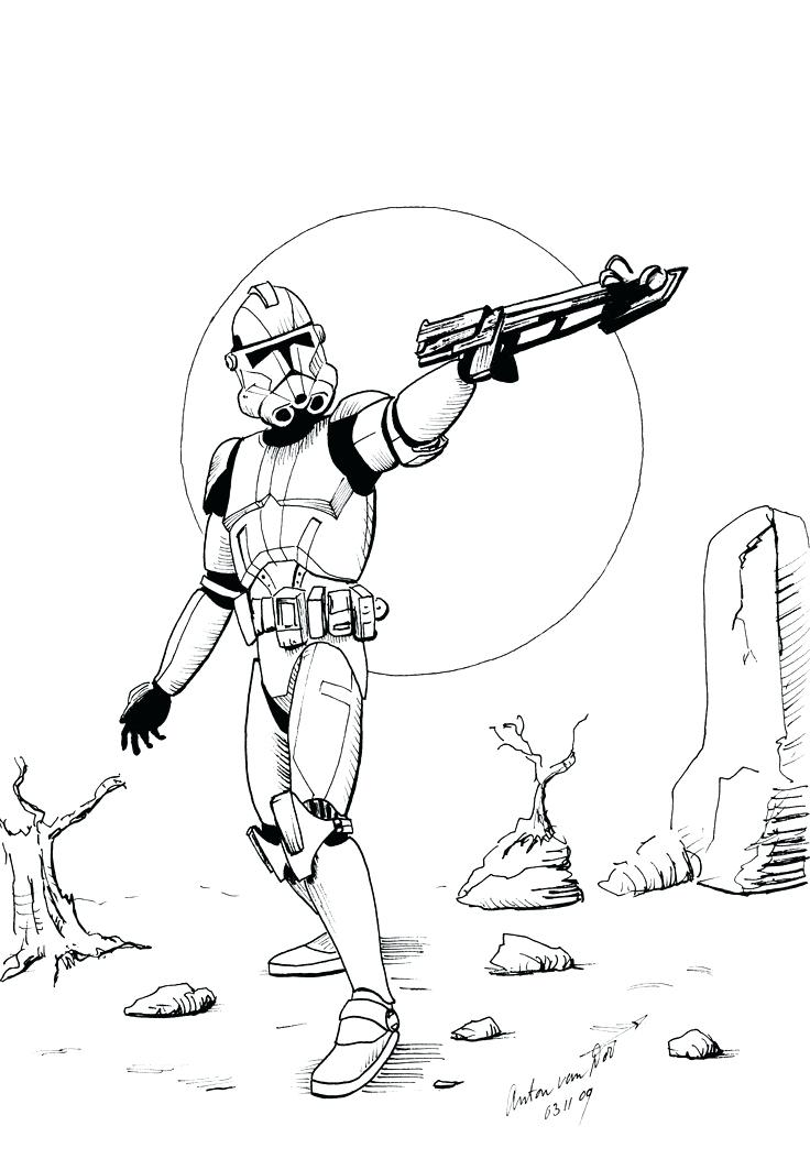 736x1053 Star Wars Clone Coloring Pages Star Wars The Clone Trooper Drawing