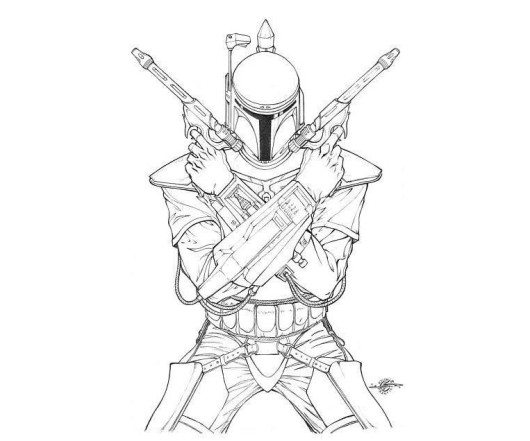 530x441 Easy Boba Fett Star Wars Coloring Pages