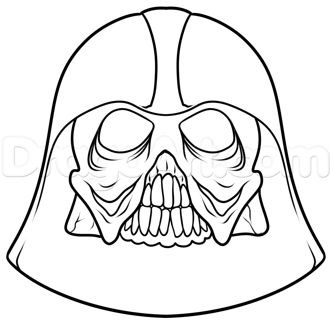 1106x1089 Easy Darth Vader Pencil Drawing How To Draw A Darth Vader Skull