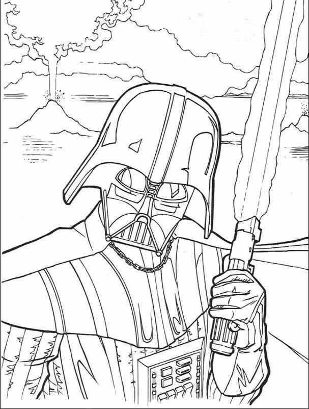 607x802 Darth Vader Coloring Pages To Print For Star Wars Lovers