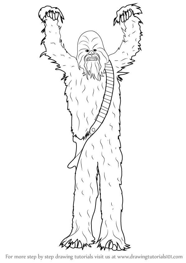 598x844 Learn How To Draw Chewbacca From Star Wars (Star Wars) Step By