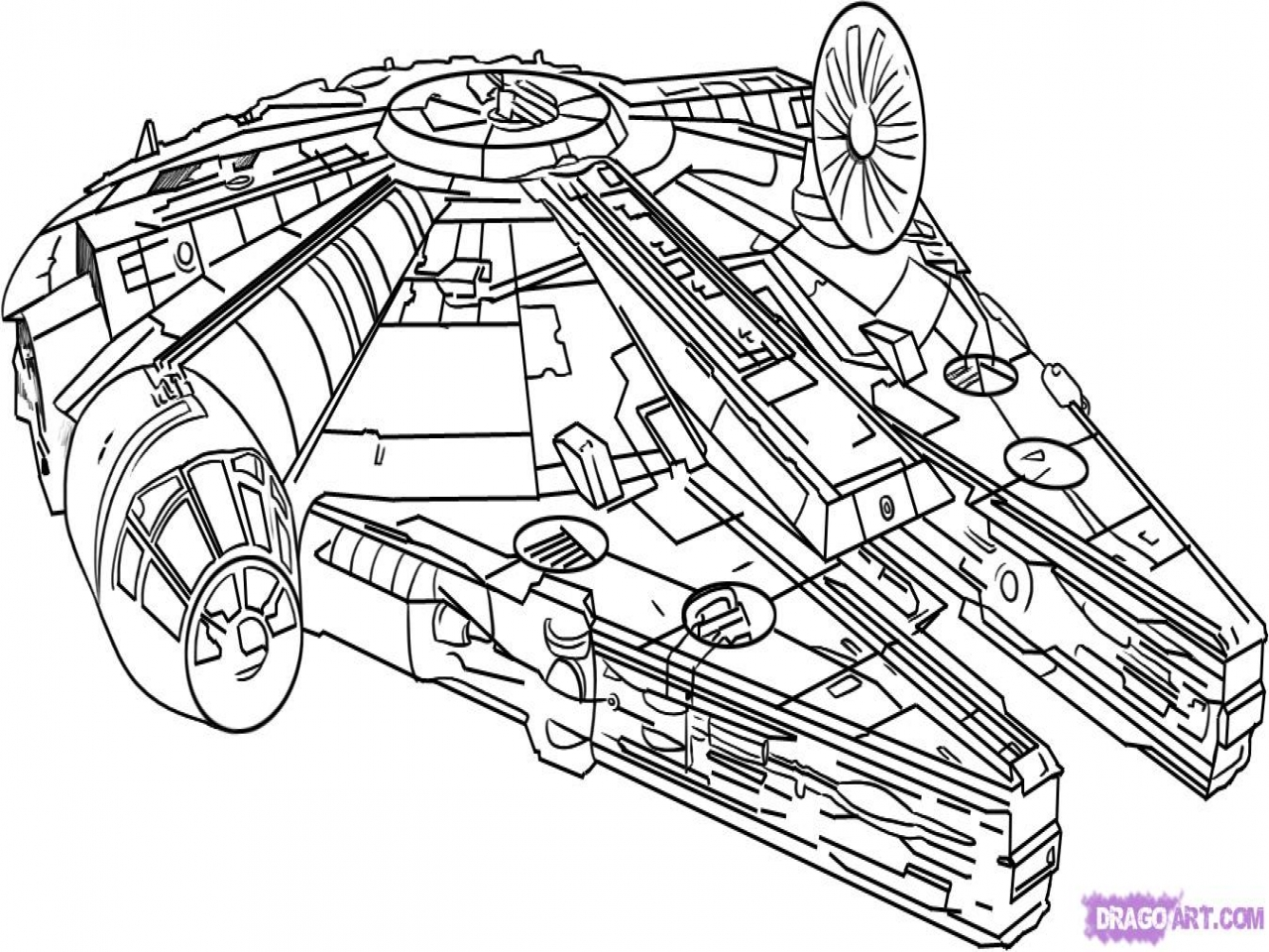 1280x960 Star Wars Ship Coloring Millennium Falcon Step By Characters Draw