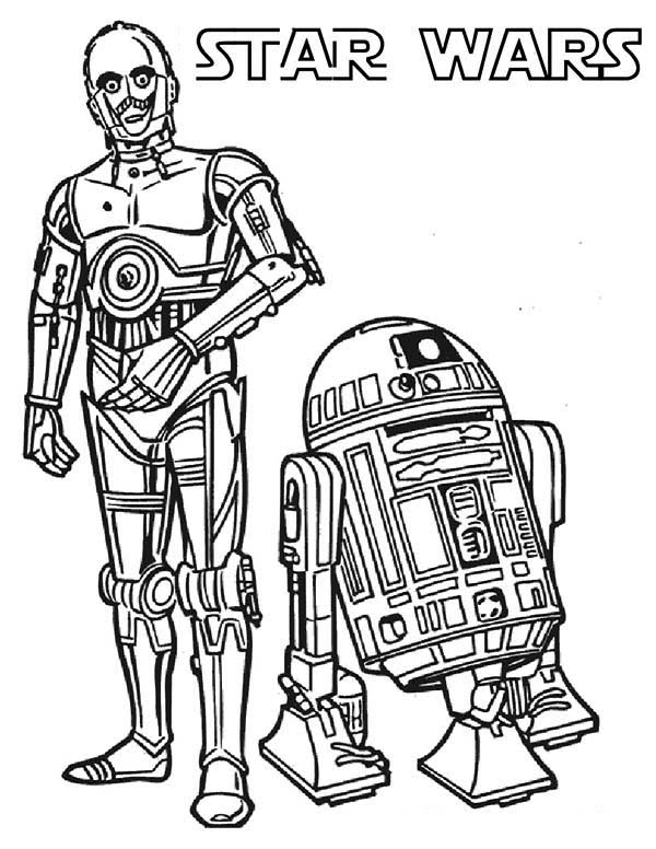 600x776 C3po And R2d2 The Star Wars Droids Coloring Page C3po And R2d2
