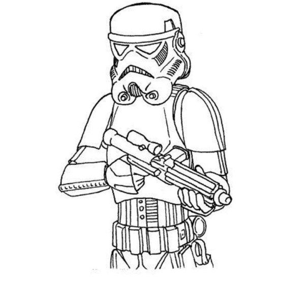 600x554 Easy Stormtrooper Star Wars Coloring Pages