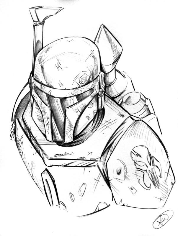603x800 Awesome Pencil Sketch Of Boba Fett. Artist Unknown. Mandalorian