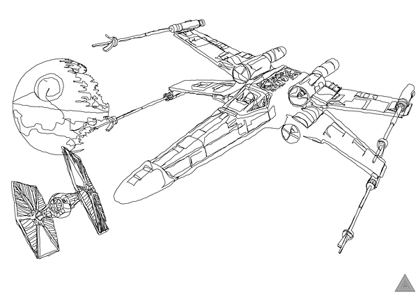 600x424 Continuous Line Star Wars Art