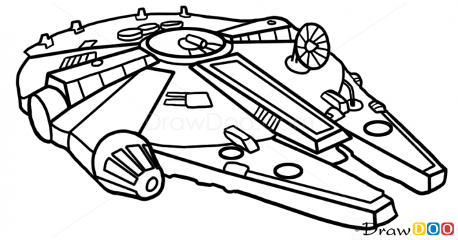 665x349 How To Draw Millennium Falcon, Star Wars, Spaceships Tattoo