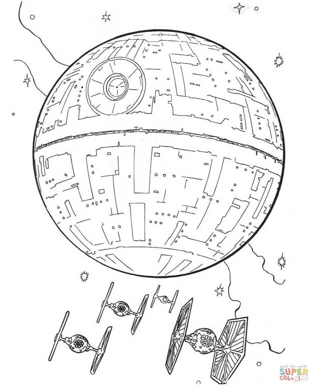 639x786 Death Star And Tie Fighters Coloring Page Free Printable