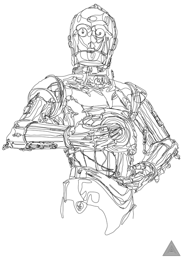 600x848 Drawn Star Wars Line Drawing