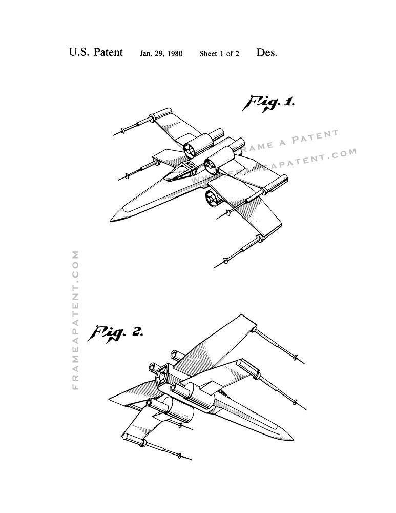 773x1000 Star Wars X Wing Fighter Patent Print Poster Item 10564 Frame