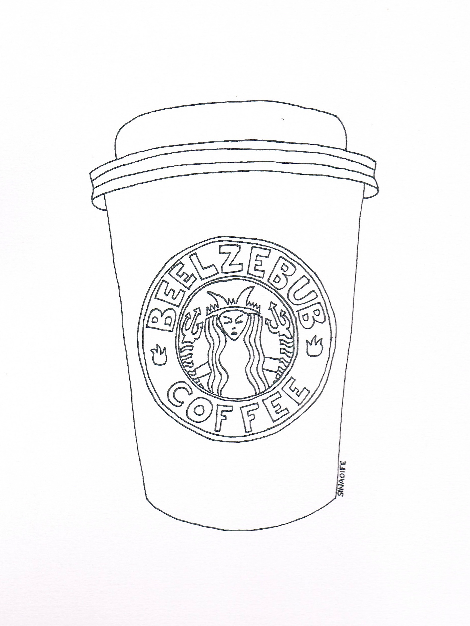 Starbucks coffee drawing at free for for Starbucks coloring page
