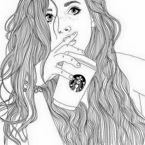 500x498 Gambar Starbucks, Outline, And Drawing Wallpapers