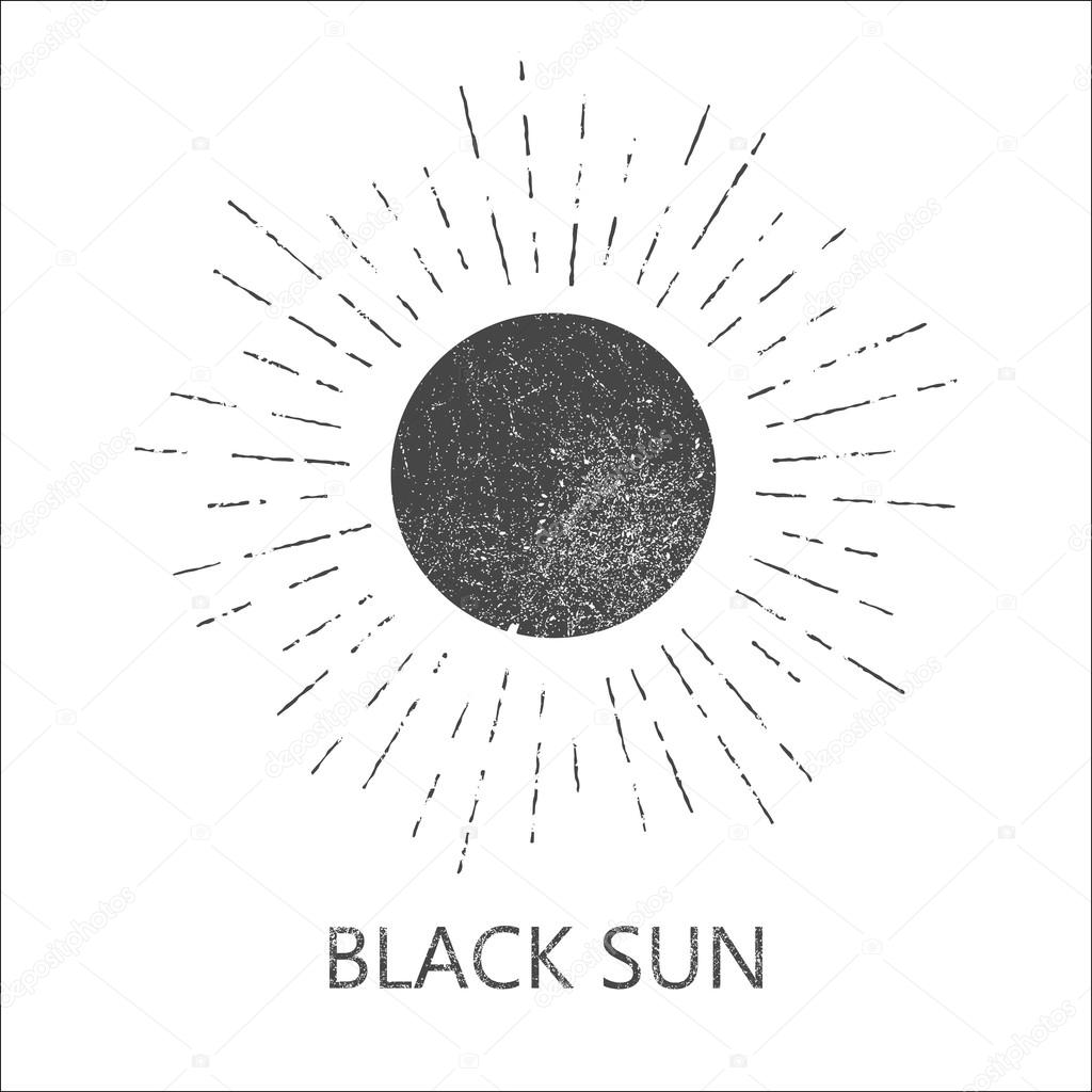 1024x1024 Monochrome Hipster Grunge Vintage Label With Sun, Starburst