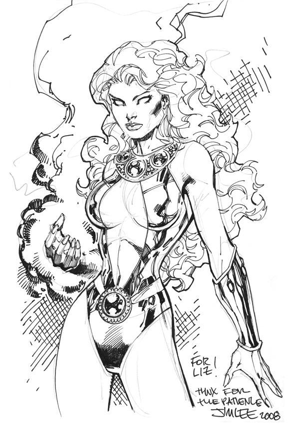 589x864 Starfire Sketch By Jim Lee Jim Lee Jim Lee, Comic