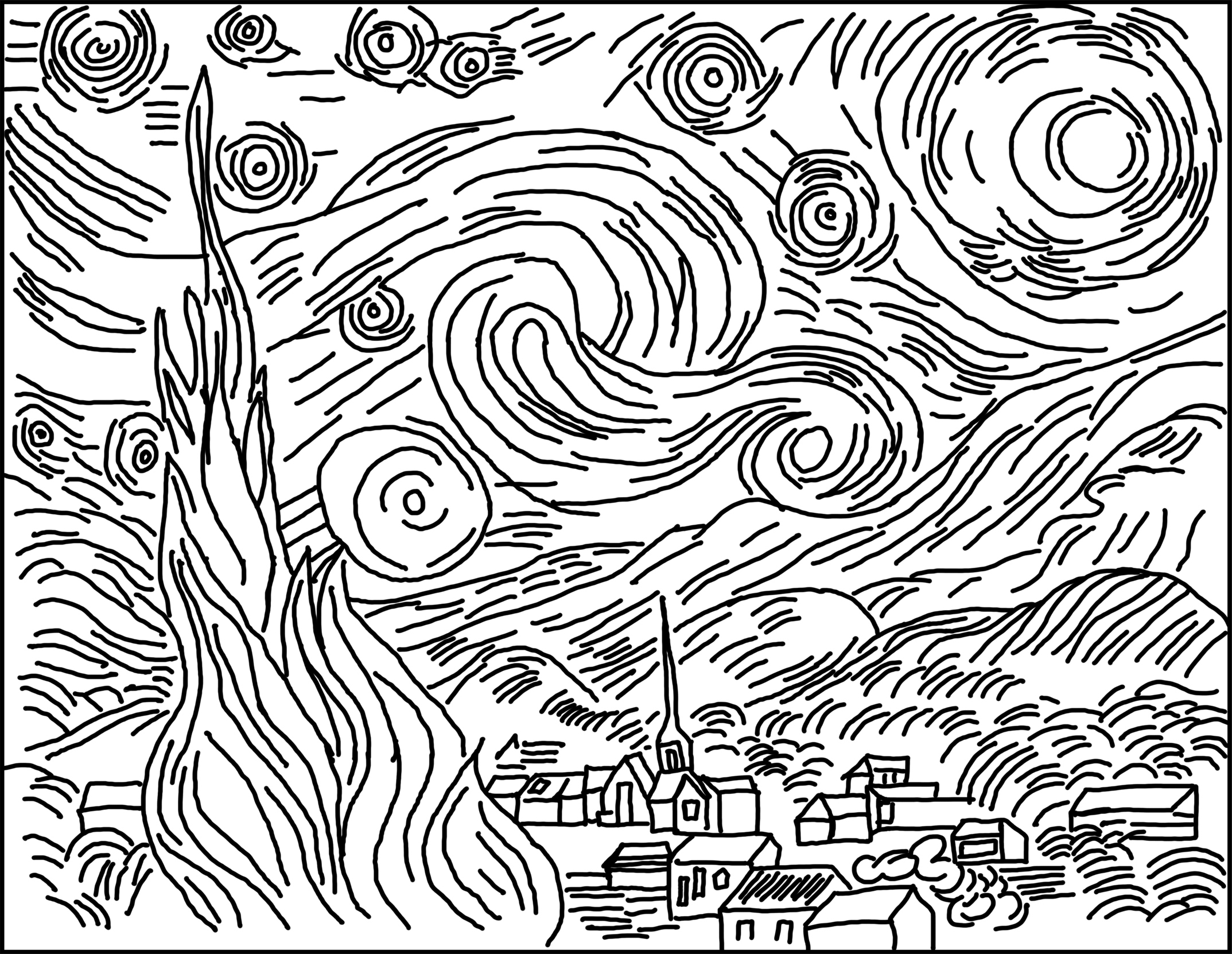 2147x1662 Starry Night Drawing Starry Night Drawing Tutorial