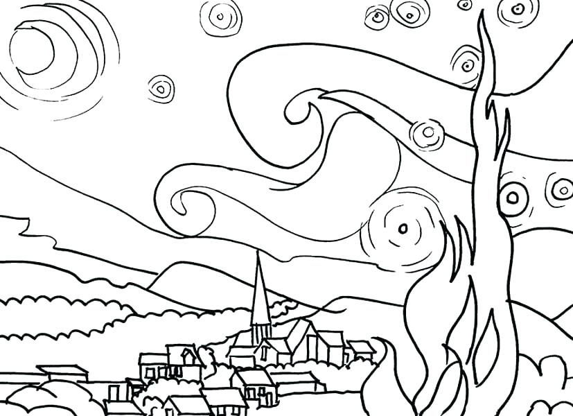 827x600 Van Gogh Starry Night Coloring Page Van Coloring Page Famous