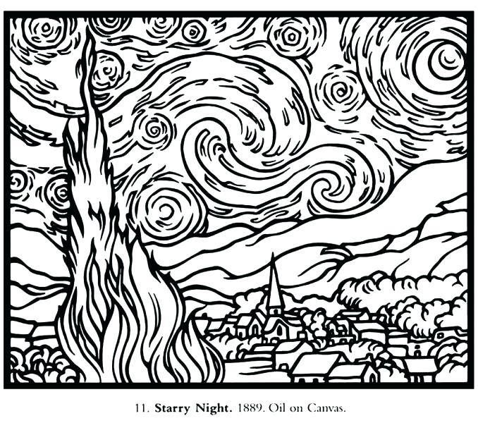 678x600 Van Gogh Starry Night Coloring Page Van Van Gogh Starry Night