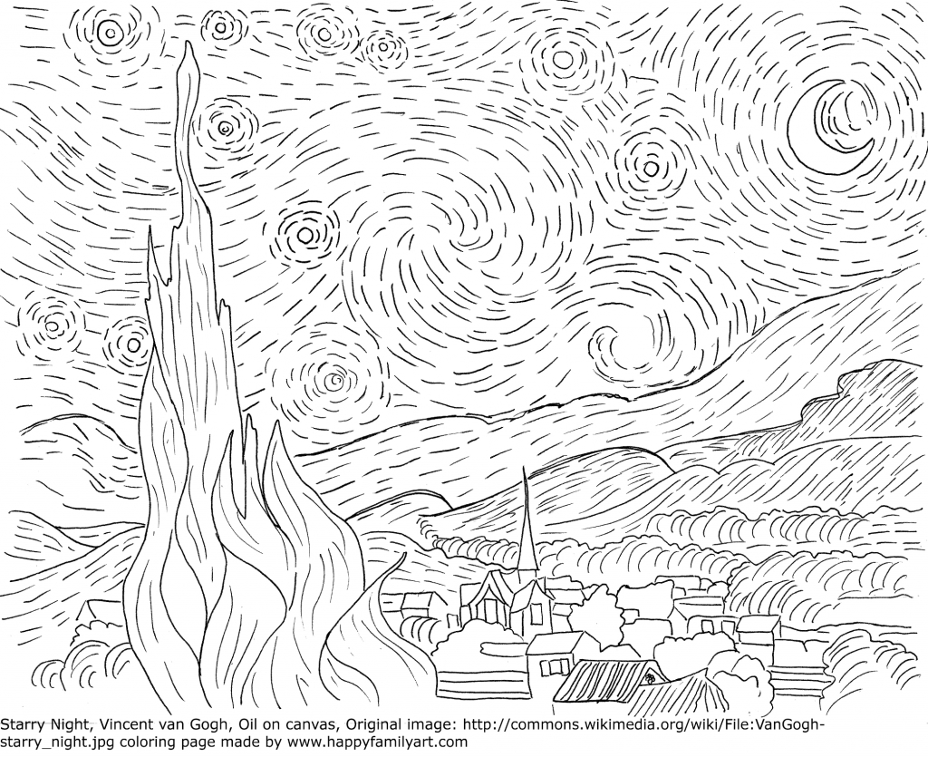 1024x835 Van Gogh Starry Night Famous Paintings Coloring Pages Famous Art