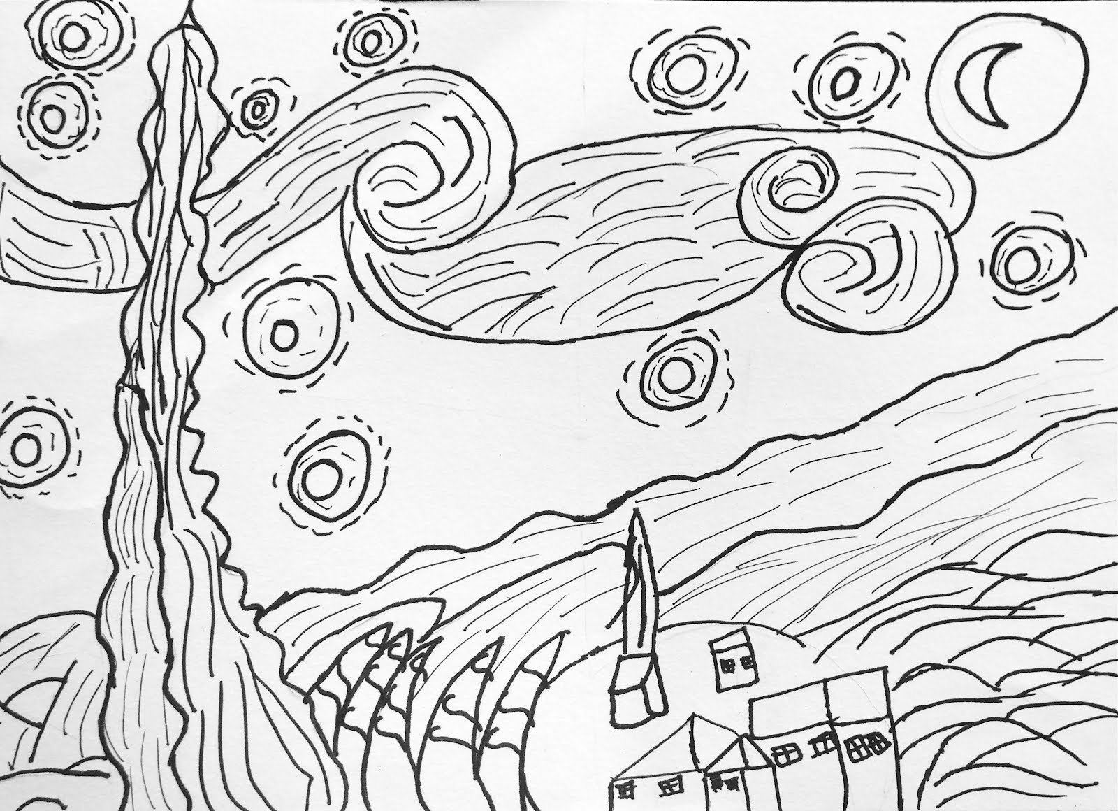 Starry Night Drawing at GetDrawings.com | Free for personal use ...