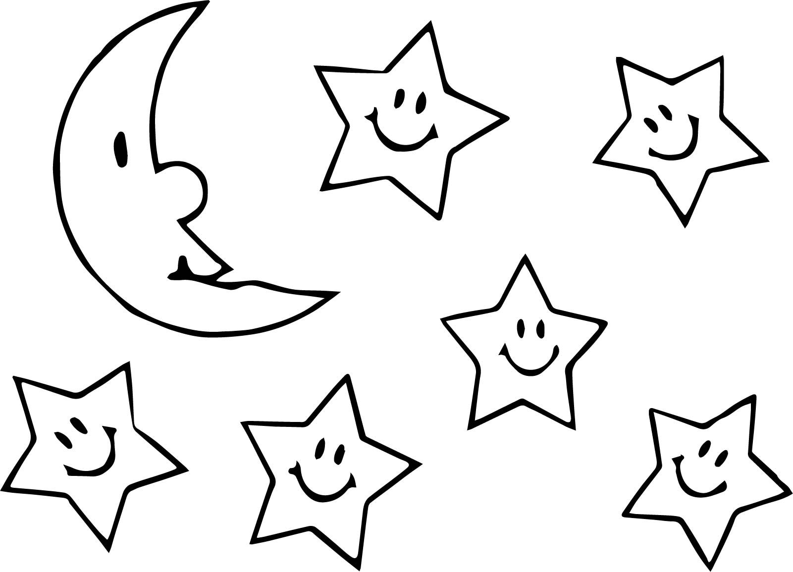 Stars And Moon Drawing At GetDrawings.com