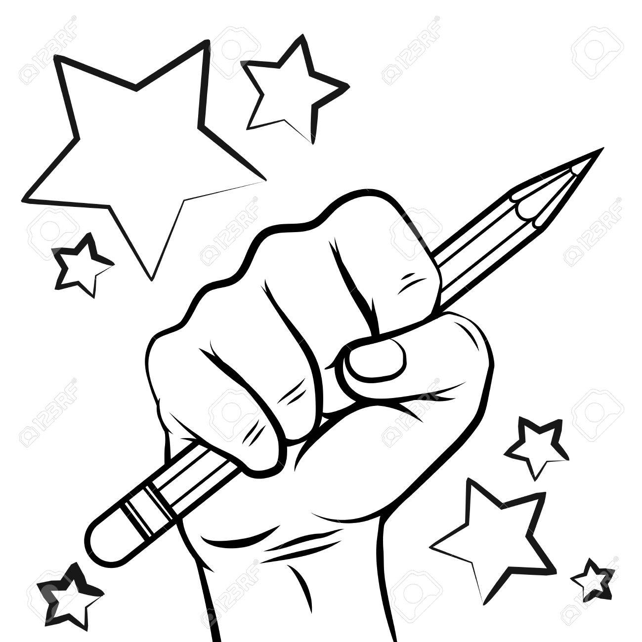 1299x1300 School Sketch With Hand Pencil And Stars Isolated On White