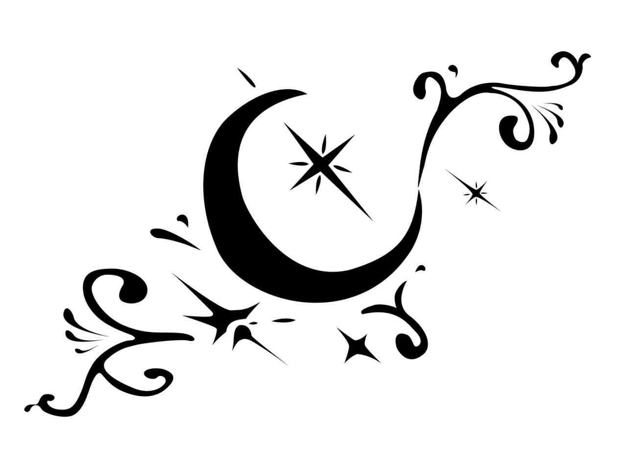 1264x948 Crescent Moon And Stars Drawing