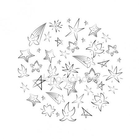 450x450 Hand Drawn Set Stars Arranged In A Circle. Children Drawings