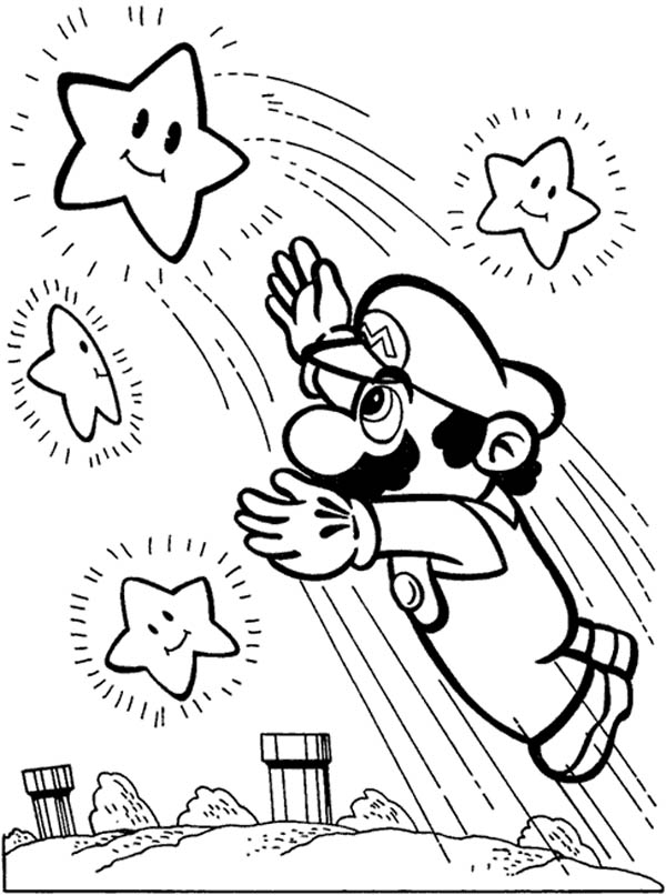 600x806 Super Mario Brothers Reach The Stars Coloring Page Color Luna