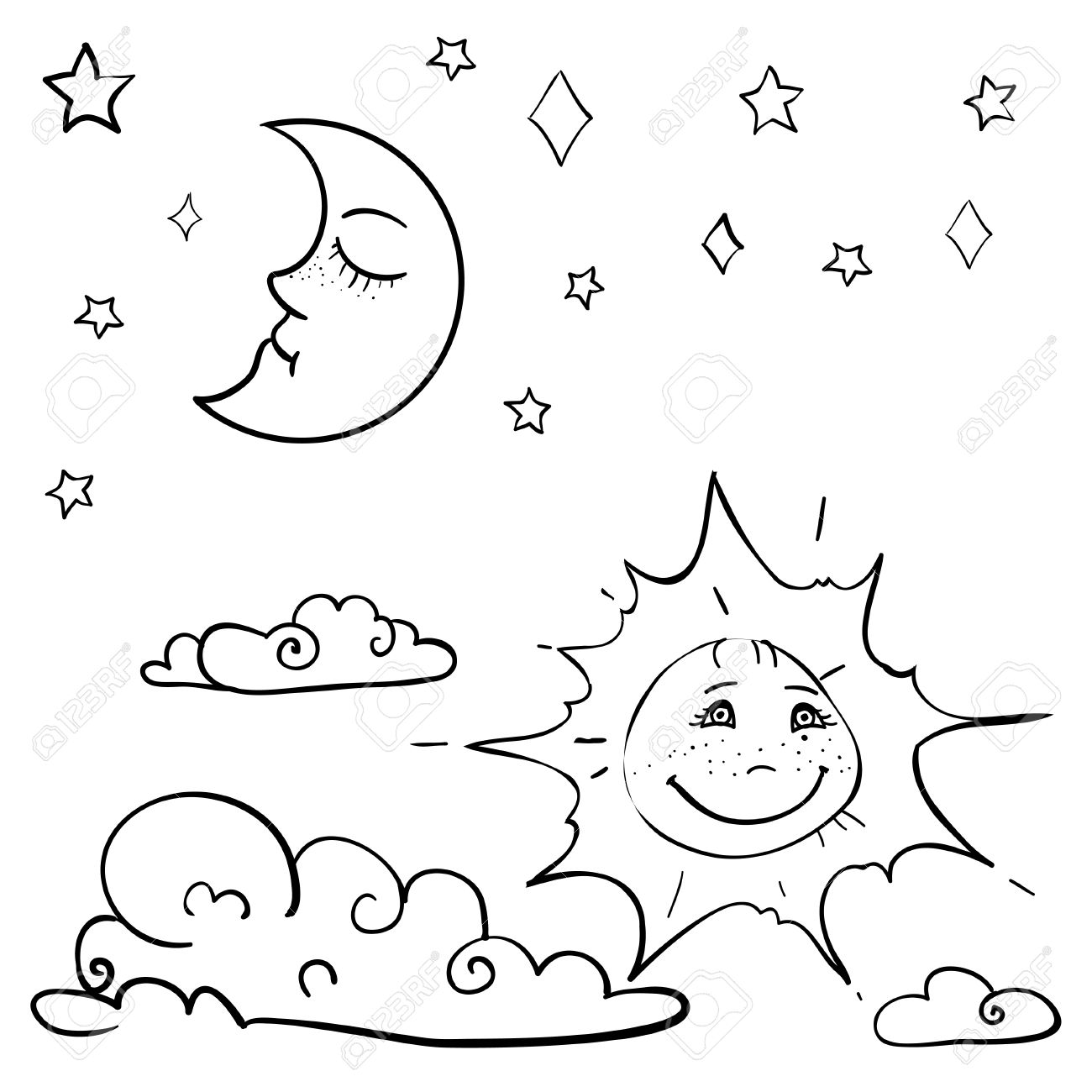 1300x1300 Hand Drawn Vector Children's Coloring Book With Moon, Sun, Cloud