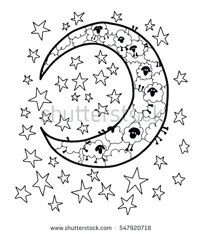 406x470 Luxury Moon And Stars Coloring Pages Image Counting Sheep Blank