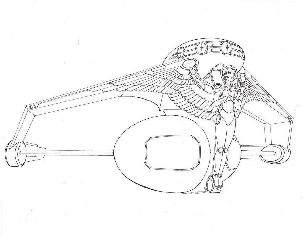 1024x794 Starship Angel Lineart By Theatrecat
