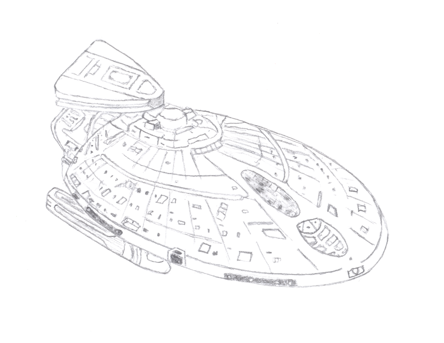 900x696 Starship Design Of Uss Metropolis, V3.5 Hand Drawn By Standingleaf