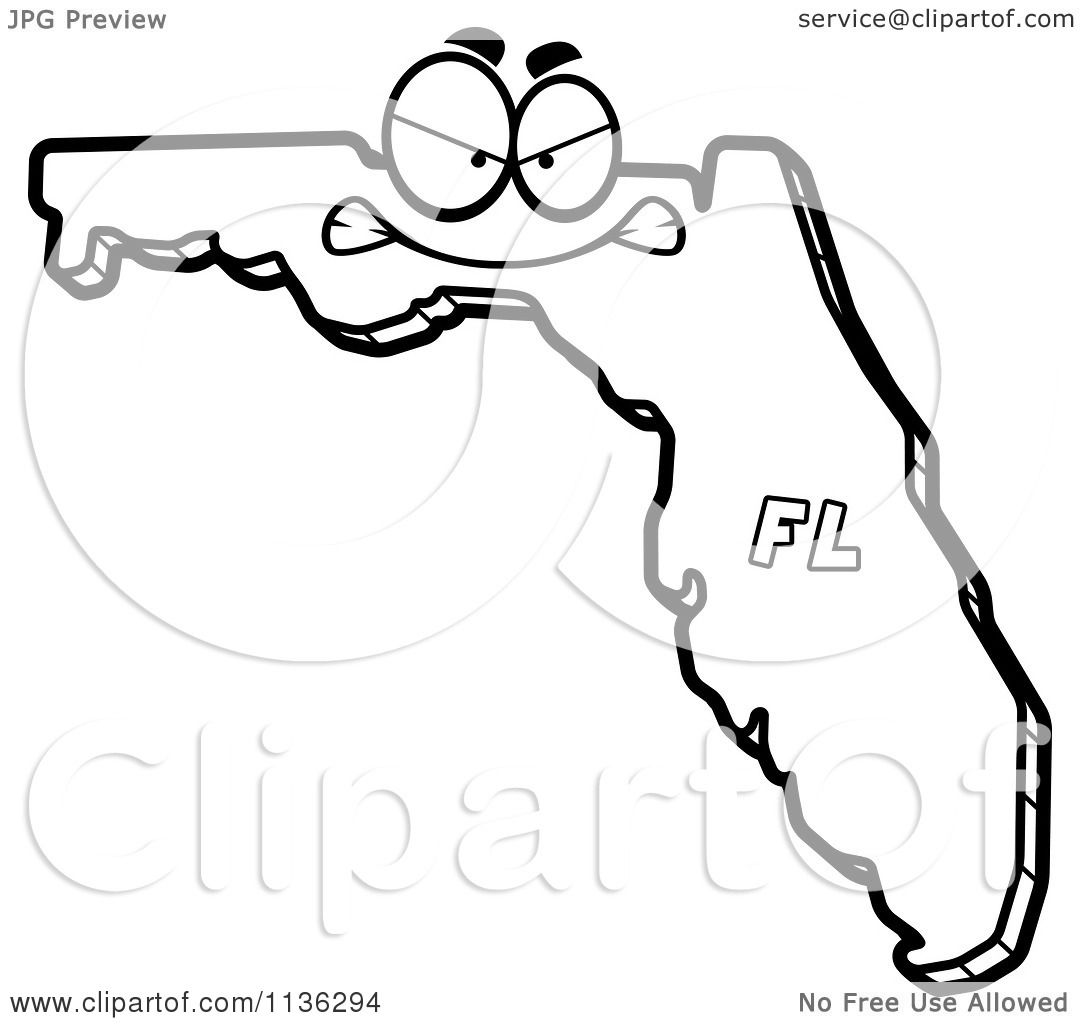 1080x1024 Cartoon Clipart Of An Outlined Mad Florida State Character